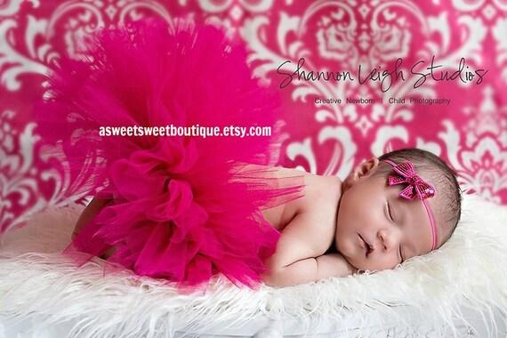 Sweet Magenta Magic Newborn Tutu Custom Made With Matching Bitty Bow Headband Sweet Newborn Photo Prop