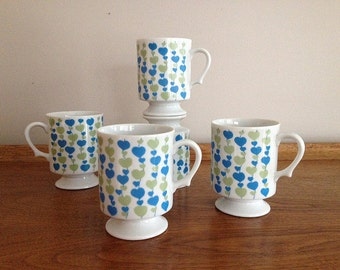 Vintage Japan Pedestal Mugs Blue and Green Hearts