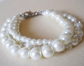 White Pearl Bracelet Three Strand Pearl With Crystals Bracelet White Pearl Jewelry Bridal Bracelet White Pearl Bead Bracelet Wedding Jewelry