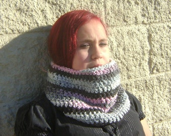 Winter Cowl in Pink, Black, and Gray, Crochet Cowl, Crocheted Cowl