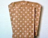 25 Medium Kraft Polka Dot Paper Bags, 5 x 7.5 inches