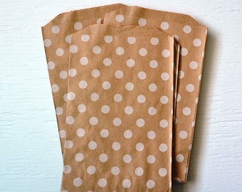 25 Medium Kraft Polka Dot Paper Bags, 5 x 7.5 inches
