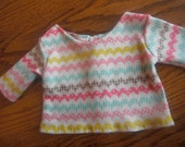 Doll Clothes Pastel Graphic Stripes T Shirt For Most 18 Inch Dolls