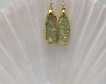Earrings: Green Mabe Pearl in 24k Gold Setting