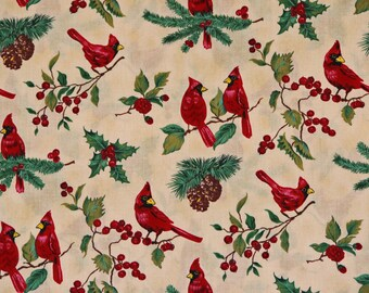 Red Robins Fabric Christmas Red Robins Bird Fabric Holiday 100% Cotton 1 Yard 22 in.