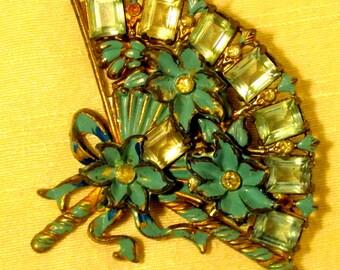 Blue enamel fan brooch with gems and flowers