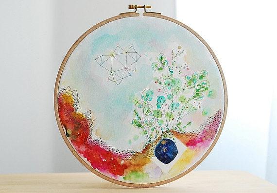 Embroidery hoop watercolor painting original art flower