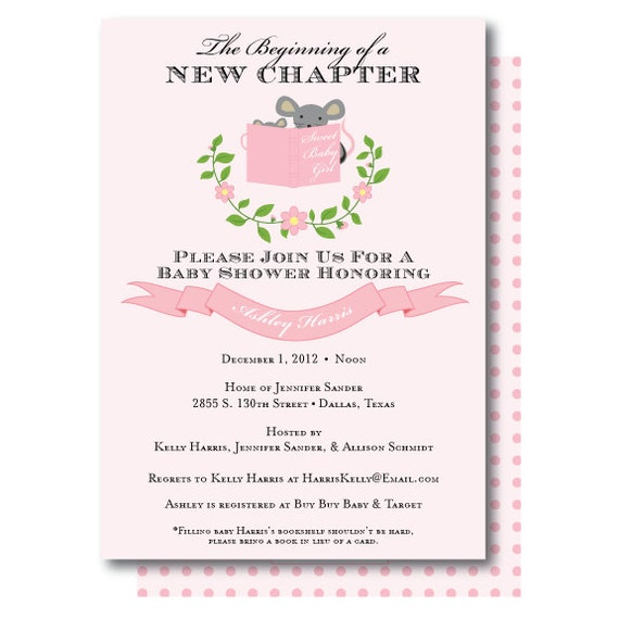 Stock The Library Story Book Baby Shower Invitation