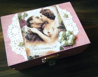Decorative Valentine's Day box, Sweetheart trinket box, jewelry box, ring box
