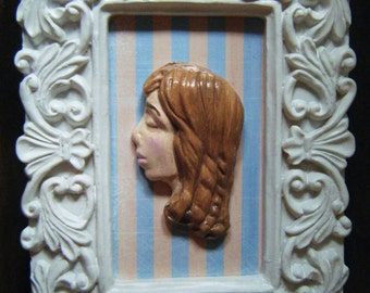 Polymer clay young woman 3d framed art, mixed media