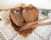 Vintage Wooden Salad Bowl Set Two Wood Servers Five Monkey Pod Acacia Philippine Bowls Retro Home Decor Wedding Gift Eco Friendly