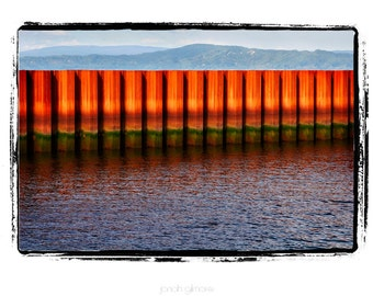 Sea Wall on the Columbia River Oregon State Blue Water Red Orange Wall