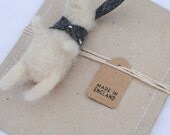Silver lining hare- needle felt bunny hare soft sculpture