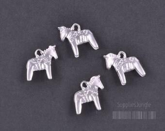 P324-MR// Matt Rhodium Plated Horse Pendant, 4pcs