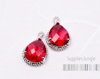 F115-S-RB// Ruby Original Rhodium Plated Fancy Faceted Glass Teardrop Pendant, 2Pcs