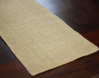 Burlap Table Runner- fully lined and reversible with muslin 8 ft x 1 ft (96 in x 12 in)