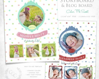 16x20 Polka Dot Storyboard and Blog Board Template Photography Design- Color Me Sweet
