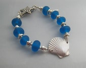 Turquoise sea glass OOAK handmade lampworked glass and silver bracelet