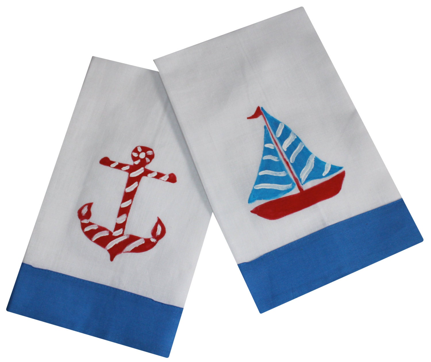 Nautical Guest Towels: Nautical Anchor And Sailboat Linen Guest Towel By