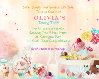 Candy Sweet Shoppe Birthday Party Invitation - Printable Invite