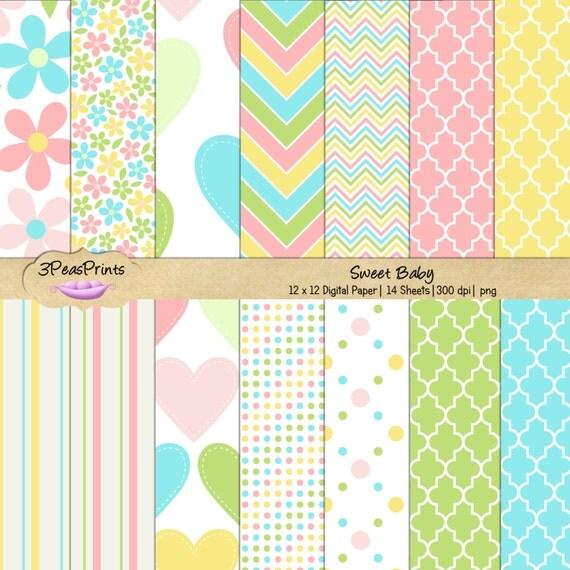 Sweet Baby Pastels Digital Paper Pack