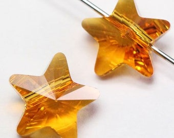 6 pieces Swarovski elements crystal Beads STAR 5714 TOPAZ - Available in 8mm and 12mm