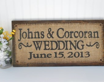 Custom wedding name sign, Bride and Groom last names, WEDDING DATE, welcome ceremony