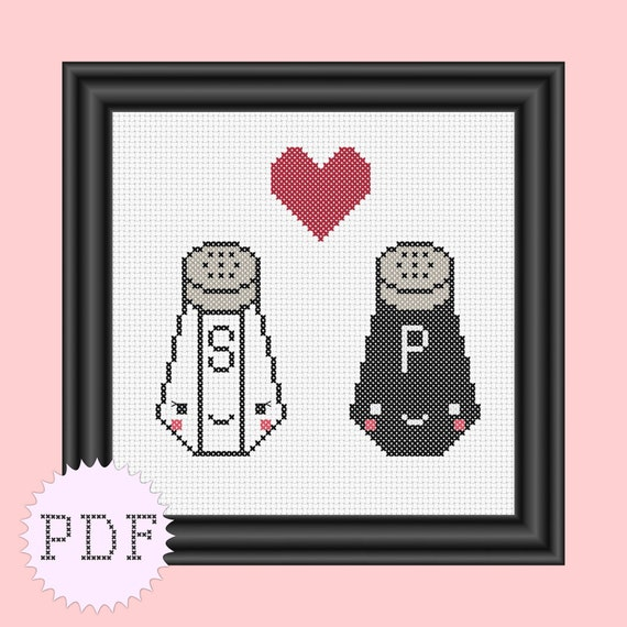 INSTANT DOWNLOAD Counted cross stitch pattern PDF kawaii cute salt and pepper love