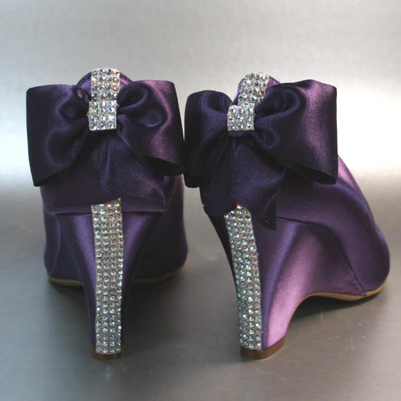 sample sale wedding shoes purple wedges with rhinestones
