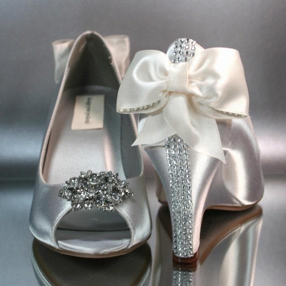 Wedding Shoes Ivory Wedges Matching Ivory Bow Crystal Detailing On