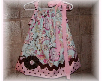Girls Pillowcase Dress Infant toddler Custom..Pasion Blossoms...sizes 0-6, 6-12, 12-18, 18-24 months, 2T, 3T..Bigger sizes AVAILABLE