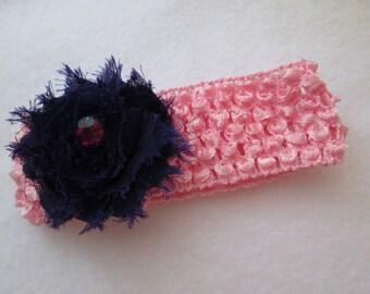 crochet headband with flower rosette