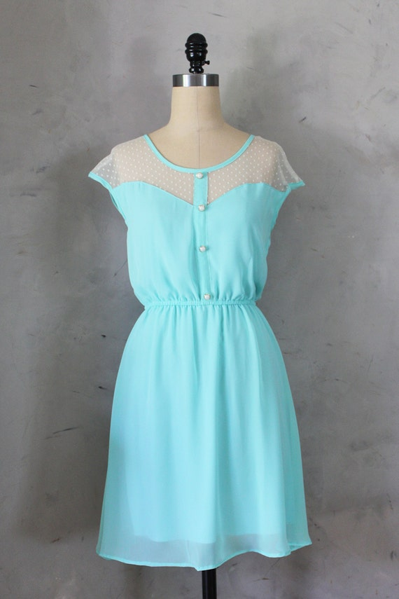 PETIT DEJEUNER - Seafoam teal aqua dress with polka dot lace illusion neckline // retro // vintage inspired // bridesmaid dress