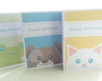 Personalised Animal Birthday Cards - Pack of 3