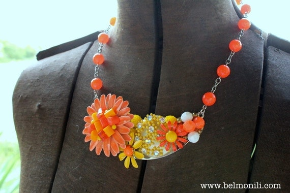 Orange Daisy Collage Statement Necklace Vintage Assemblage