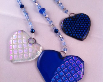 Blue Hearts Bedazzled Wall Art, Glass Heart Ornament