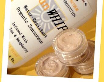 "Natural Sunscreen SAMPLER. Organic, Water-Proof, Tinted Moisturizer w/ Antioxidants, Anti-Aging, Kid-Safe, No Chemicals. ""SunWHIP"" Sunblock"