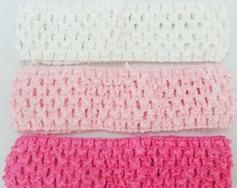 "8 Pcs 1.5"" baby corchet elastic headband for baby haribow Todderl girl 8 colors option size 38mmx140mm"