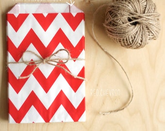 Red and White Chevron Pattern Party Favour Bags - 5 x 7 inch Favor Gift Bag - Packet of 12 in Black, Red, Yellow and Pink