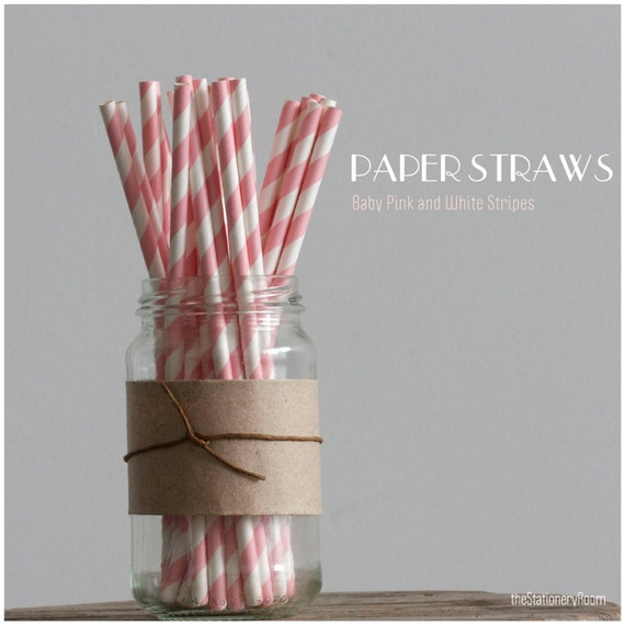 25 Baby Pink and White Striped Paper Straws - Standard 7.75'' / 19.68cm