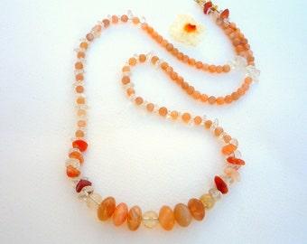 Peach moonstone , Crystal Quartz semiprecious stones, necklace.Gemstone necklace. Orange gemstone necklace.