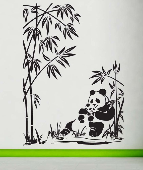 Panda wall decal panda sticker panda decal panda bear for Stickers para pared decorativos