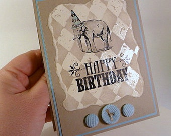 Unisex Birthday Card, vintage style circus, elephant, embossed card, blank inside, hand stamped card, fancy handmade card (C1117)