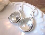 Silver Clear Crystal Earrings - Sterling Silver Earwires - Bridesmaid Earrings - Bridal Earrings - Wedding Earrings Jewelry