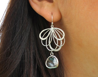 Clear Crystal Earrings Silver Feather -  Bridesmaid Earrings - Bridal Earrings - Wedding Jewelry