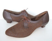 UK 8.5 Vintage 60s brown leather oxford shoes stacked heels EU 42 US 10.5 Wide