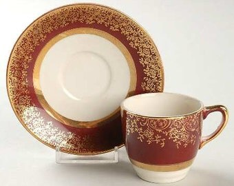 Salem China Company Aristocrat 28 Karat Gold Demitasse Cup And Saucer Set