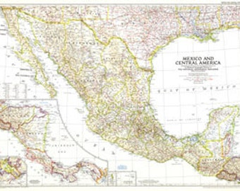 Vintage1953 Map Mexico And Central America Map Rare 37 x 27