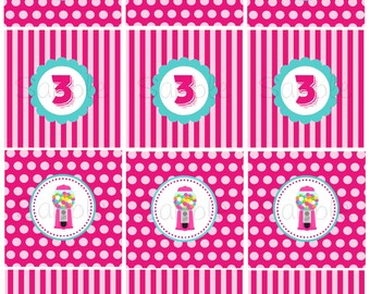 Custom Printable Sweet Shop or Candy Shop Birthday Party 2 inch Party Circles/Cupcake Toppers