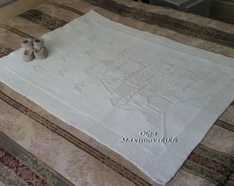 """Hand knitted Baby Blanket """"Castle"""". Size 28in x 37in (71cm x 94cm). Custom Order"""